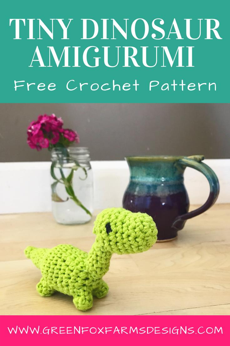 Tiny Dinosaur Amigurumi Pattern - Free Crochet Pattern - www.greenfoxfarmsdesigns.com