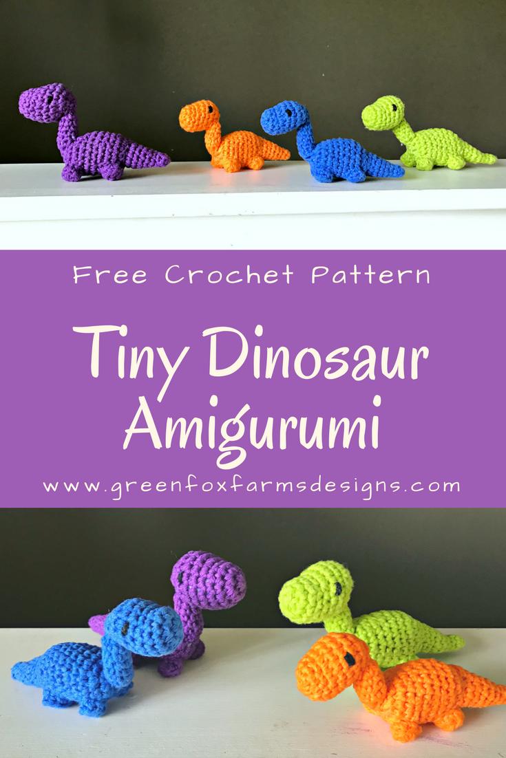 Tiny Dinosaur Amigurumi - Free Crochet Pattern - www.greenfoxfarmsdesigns.com