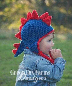 Dinosaur Hat Crochet Pattern - www.greenfoxfarmsdesigns.com