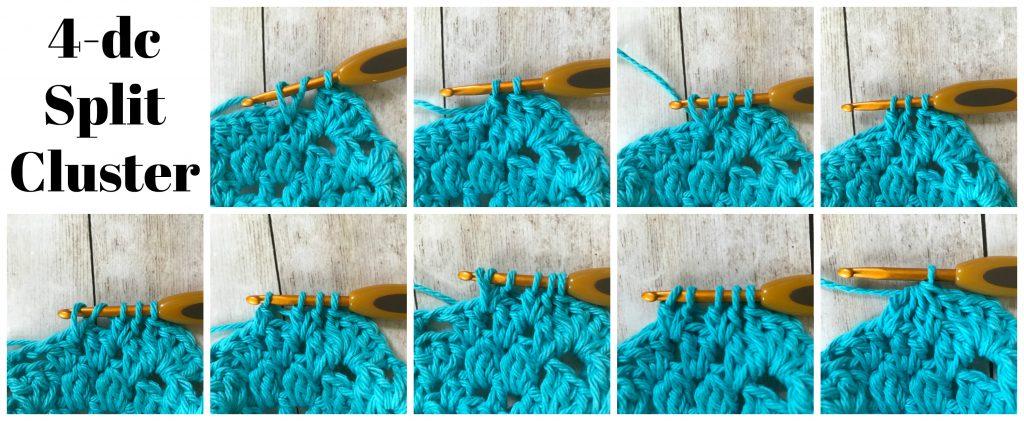 crochet technique 4 dc split cluster stitch