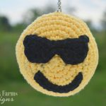 crochet emoji keychain with sunglasses