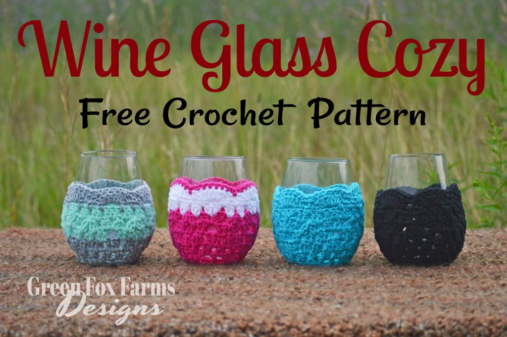 wine glass cozy text over 4 wine glasses with crochet wine glass cozy