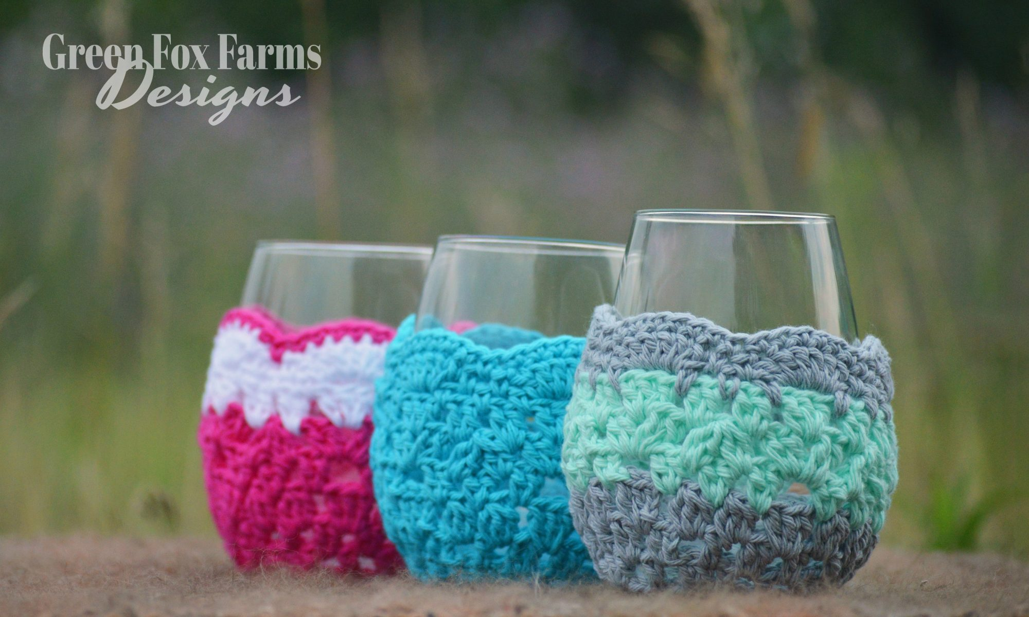 Free crochet patterns archives green fox farms designs crochet wine glass cozy set of 3 reheart Choice Image