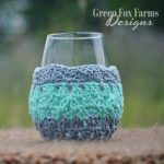 crochet wine glass cozy gray, mint