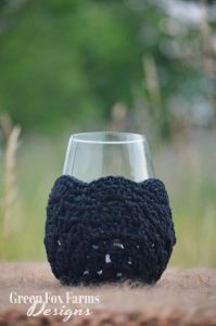 black crochet wine glass cozy