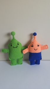 crochet alien rag dolls by rebeka harakal
