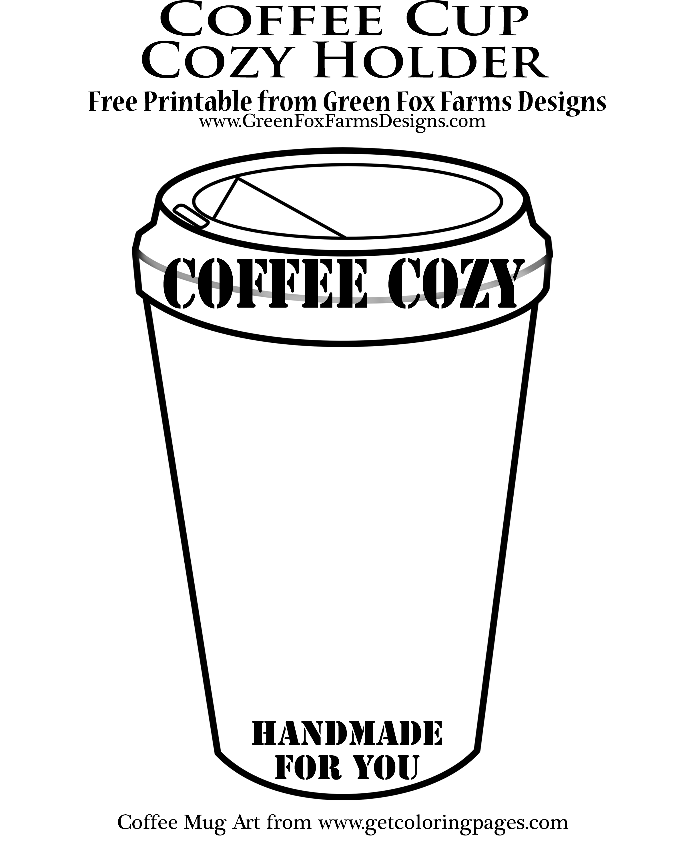 coffee cup printable • Green Fox Farms Designs