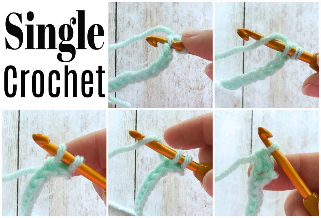 how to single crochet 5 photos text