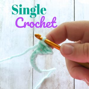 single crochet photo with text