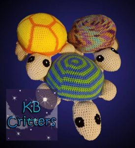 3 crochet turtles