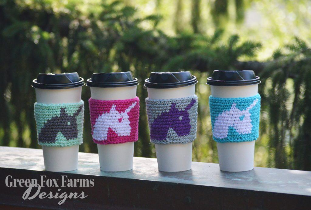 4 cups with unicorn coffee cozy