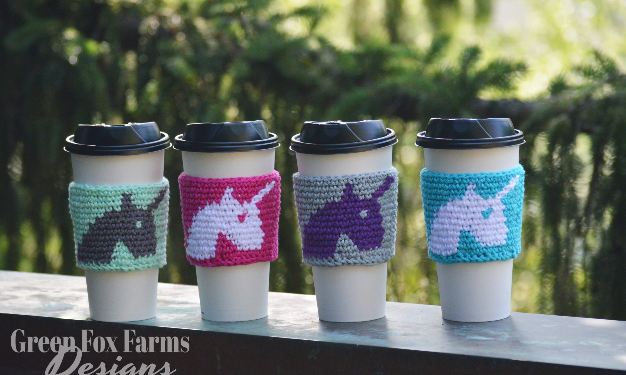4 cups with unicorn coffee cozy