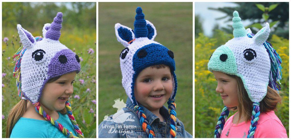 2 girls toddler boy wearing crochet unicorn hats