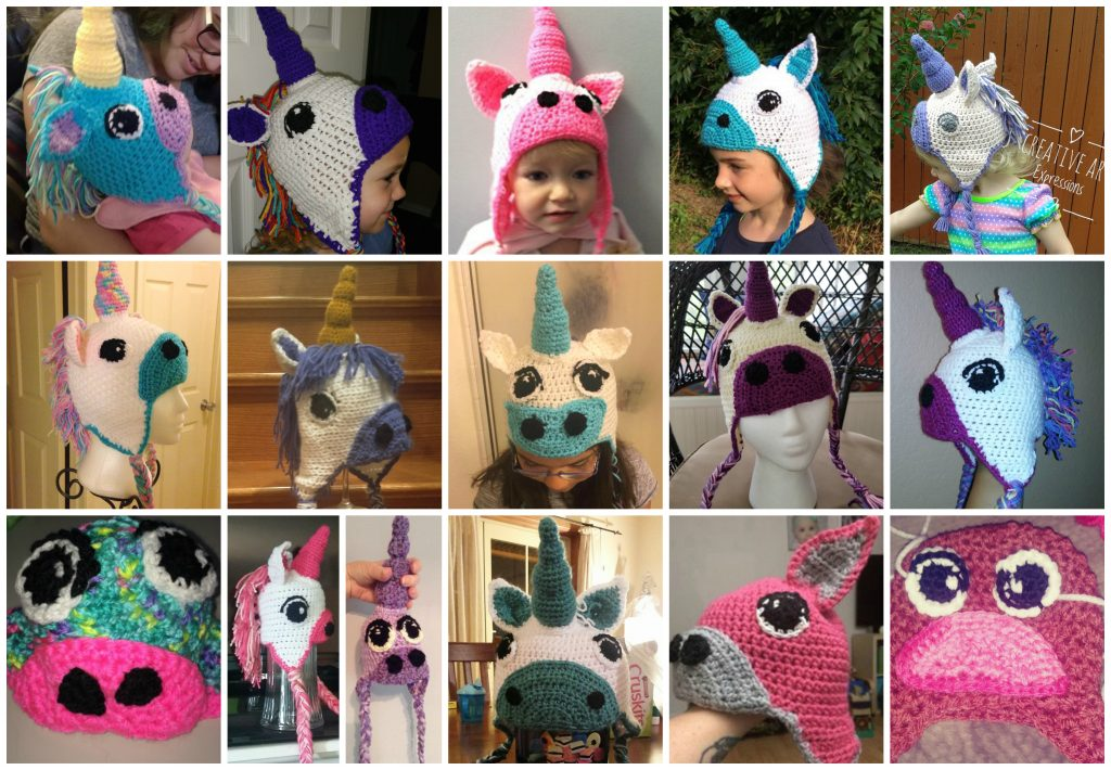 collage 16 crochet unicorn hats