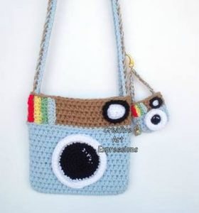 light blue instagram style camera purse and mini purse