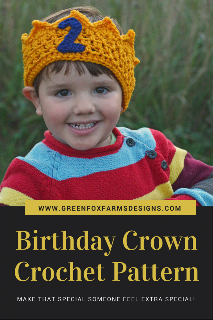 Birthday Crown Crochet Pattern www.greenfoxfarmsdesigns.com