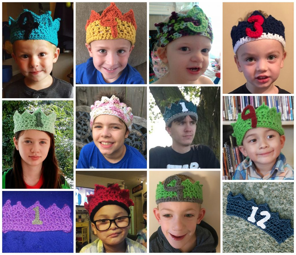 collage of children wearing birthday crown with numbers