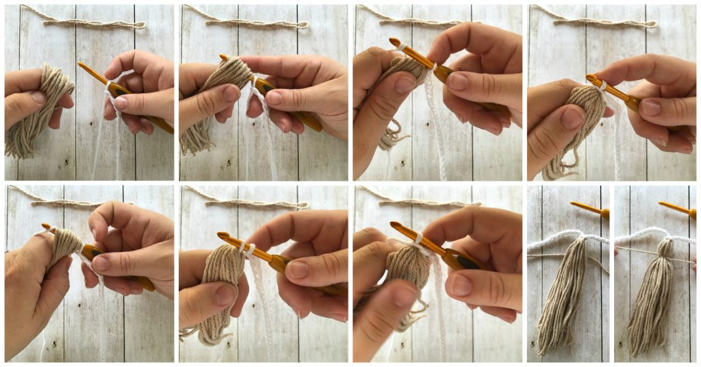 crochet tassel bunting tutorial collage