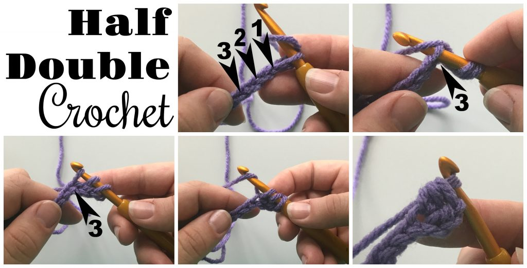 half double crochet tutorial collage with text