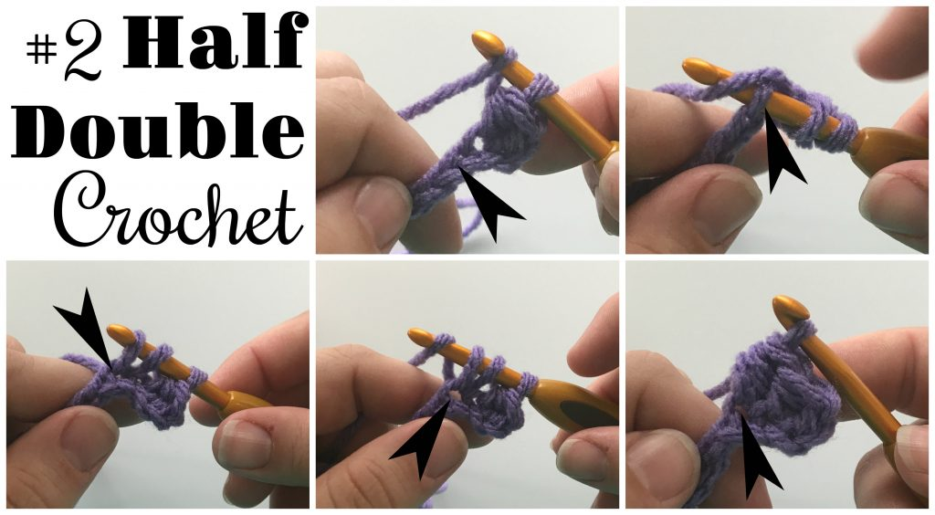 half double crochet tutorial with text