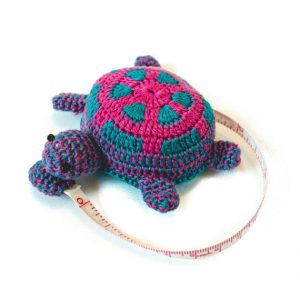 crochet pink and turquoise turtle tape measure