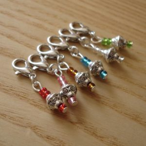 silver colorful beaded stitch markers with lobster claw clasps