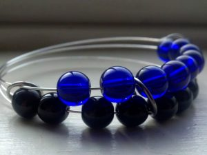 blue and black beaded abacus bracelet