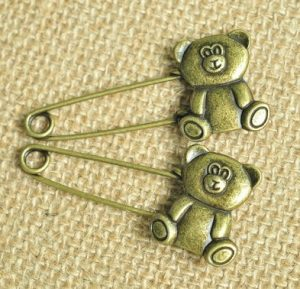 bronze teddy bear safety pins