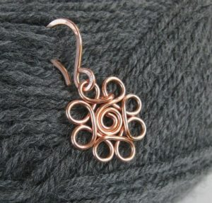 copper wire flower stitch markers