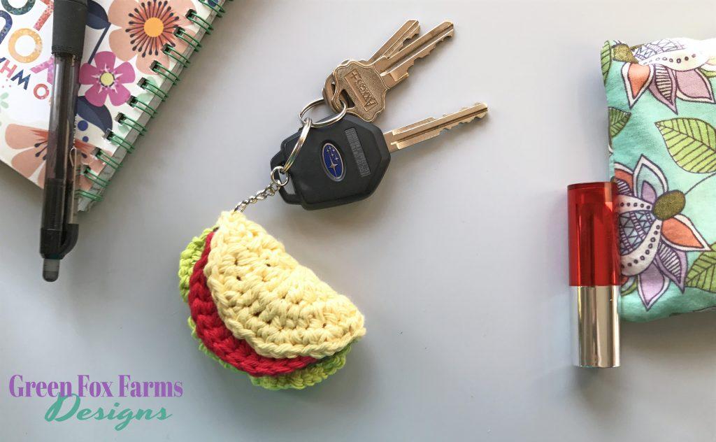 Taco Keychain Free Crochet Pattern Green Fox Farms Designs