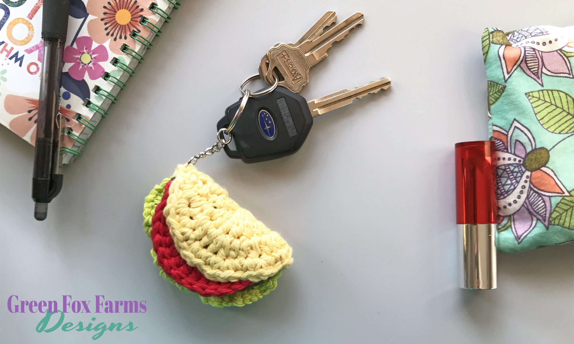 Taco Keychain - Free Crochet Pattern • Green Fox Farms Designs