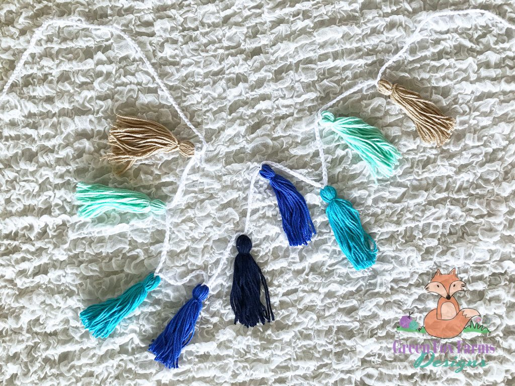 blue ombre tassel bunting