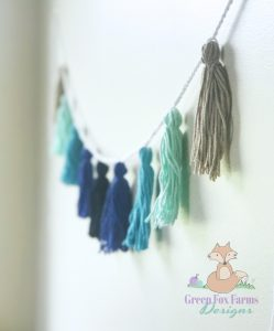 tassel bunting ombre blues