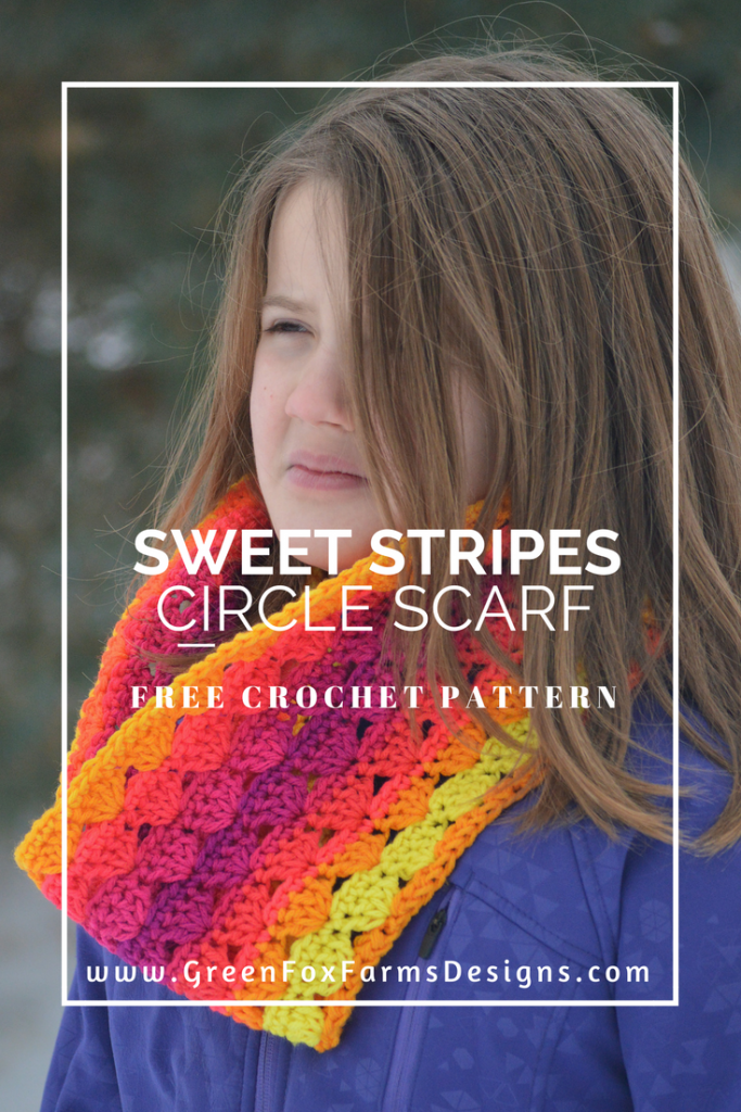 Sweet Stripes Circle Scarf www.greenfoxfarmsdesigns.com