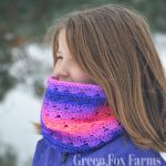 Sweet Stripes Circle Scarf - Free Crochet Pattern - Infinity Scarf Pattern - Easy Crochet Pattern - Crochet Cowl - Neckwarmer Pattern - Winter Crochet - www.greenfoxfarmdesign.com