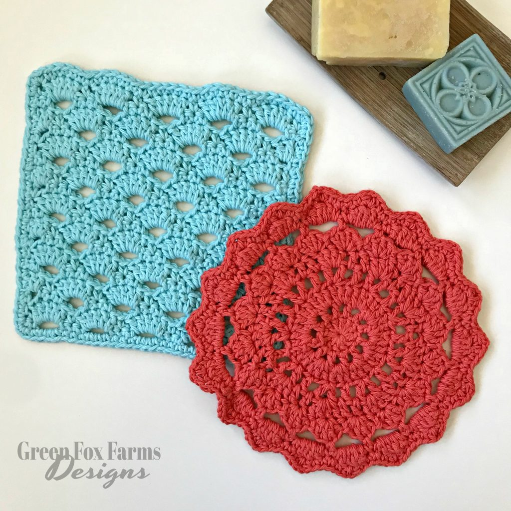 April Showers Dish Cloths - Free Crochet Pattern - April Showers Cloud Cloth - Free Crochet Wash Cloths Pattern - April Showers Sun Cloth - Handmade Home Crochet - www.greenfoxfarmsdesigns.com