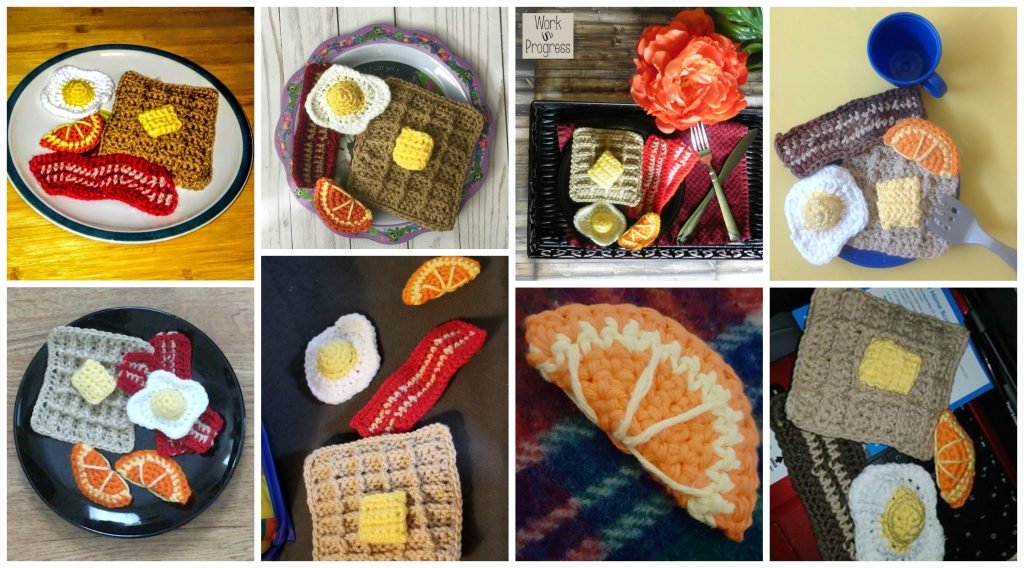 Crochet Breakfast Pattern - Crochet Food Pattern - Play Food - Amigurumi Breakfast - Amigurumi Food Pattern - Bacon - Eggs - Waffles - www.greenfoxfarmsdesigns.com