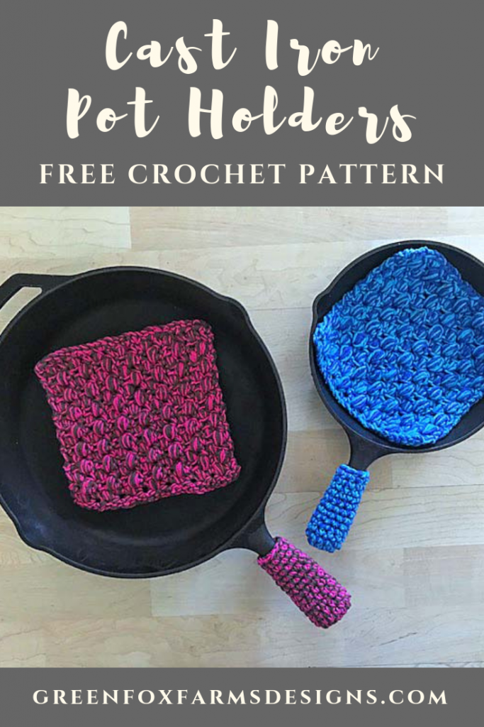 Cast Iron Handle Cover - Free Crochet Pattern - Pot Holder Pattern - Crochet Pattern - Cast Iron Cooking - Handmade Home - www.greenfoxfarmsdesigns.com