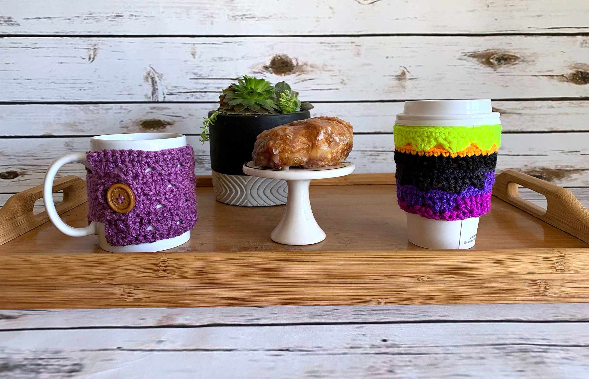 Sweet Stripes Coffee Cozy – Free Crochet Pattern