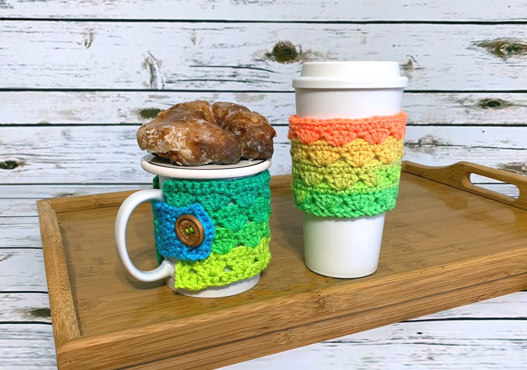 Sweet Stripes Coffee Cozy - Free Crochet Pattern - Travel Mug Cozy - Crochet Pattern - Coffee Sleeve - Mug Cozy - Easy Crochet Pattern - Red Heart Super Saver Stripes - greenfoxfarmsdesigns.com
