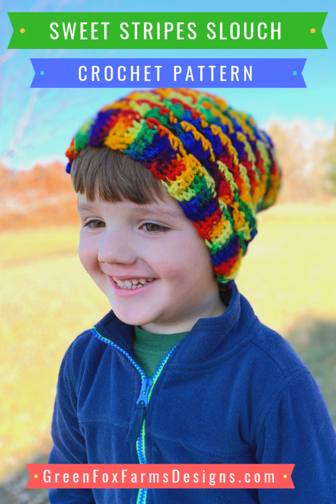 Sweet Stripes Collection - Fingerless Gloves - Slouchy Hat - Crochet Pattern - Winter Wear - Easy Crochet Pattern - Slouch Pattern - Fingerless Mittens Pattern - greenfoxfarmsdesigns.com