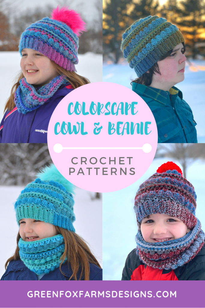 Colorscape Cowl and Beanie Crochet Patterns make for a super cozy set! Designed for use with beautiful Red Heart Colorscape yarn. Fun textured beanie and cowl are both one skein projects. Perfect Winter Crochet Patterns for kids and adults to enjoy! www.greenfoxfarmsdesigns.com