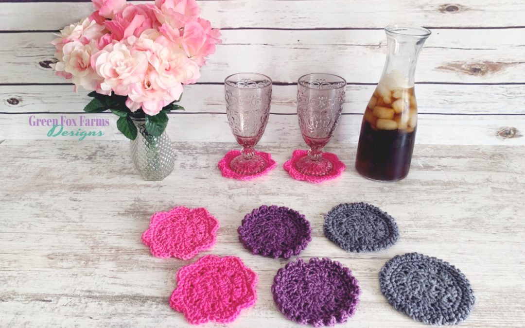 Sweet Stripes Coasters - Crochet Pattern for Adorable Round Coasters - Perfect for drinks or as small plant rugs - Free Crochet Pattern from greenfoxfarmsdesigns.com