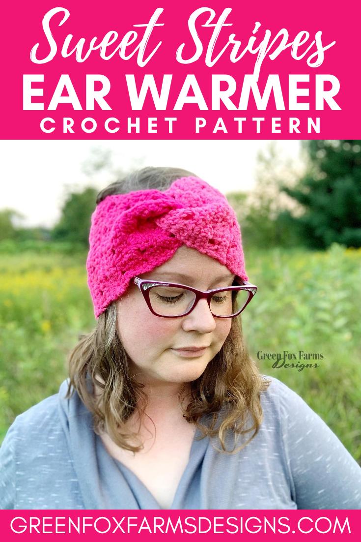 Sweet Stripes Ear Warmer - Easy Crochet Pattern - Fall Crochet Ear Warmer - Crochet Winter Headband - Beginner Crochet Patterns by greenfoxfarmsdesigns.com