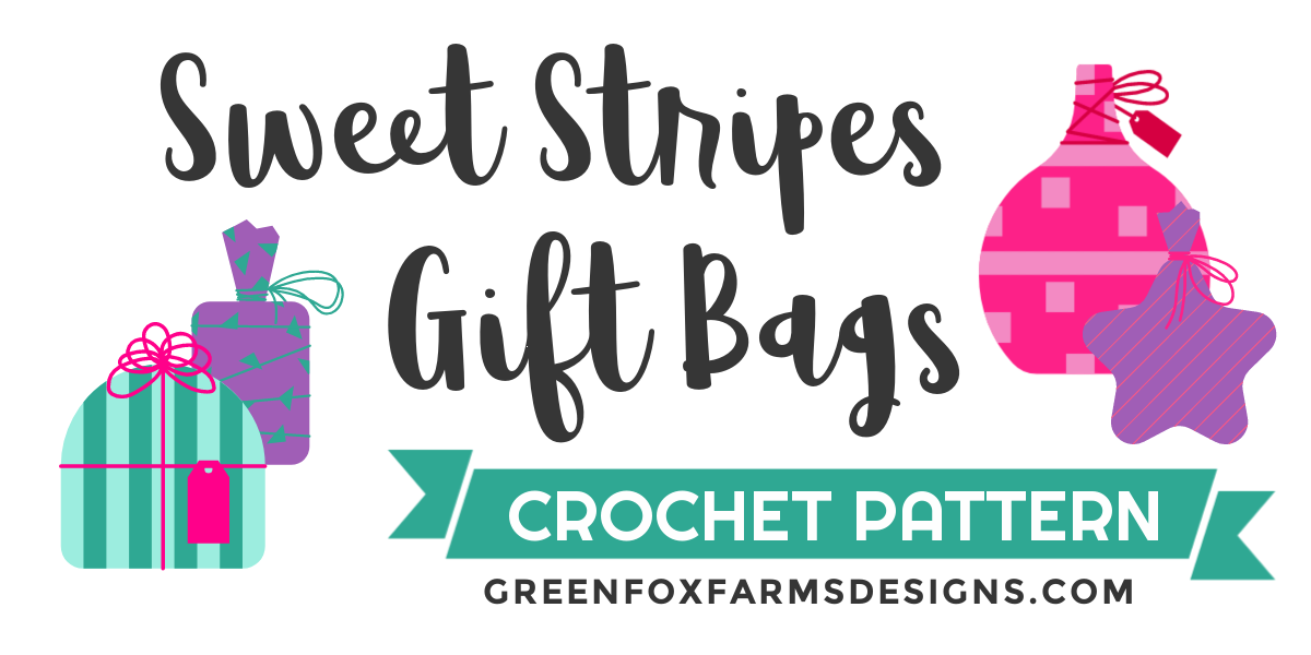 Sweet Stripes Gift Bags Crochet Pattern. Create your own Colorful Red and Green Gift Bags tied with ribbon. Give a gift in a pretty gift bag handmade by you with the Easy Crochet Pattern! Crochet Pattern designed by greenfoxfarmsdesigns.com