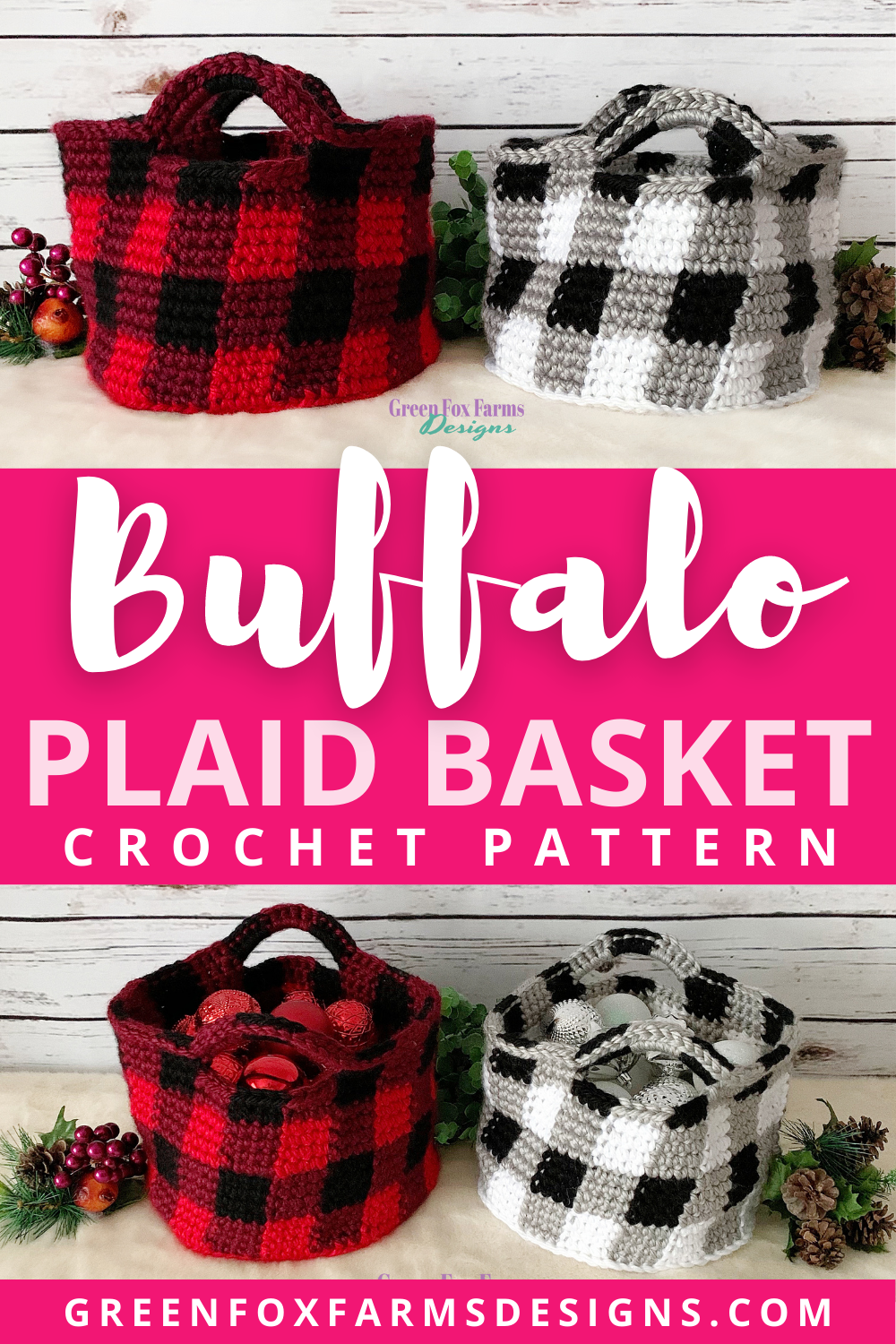 Gorgeous Red and Black Buffalo Plaid Basket Crochet Pattern. Black and White Buffalo Plaid Basket brings Farmhouse Chic to your holiday home decor. Crochet Pattern by greenfoxfarmsdesigns.com