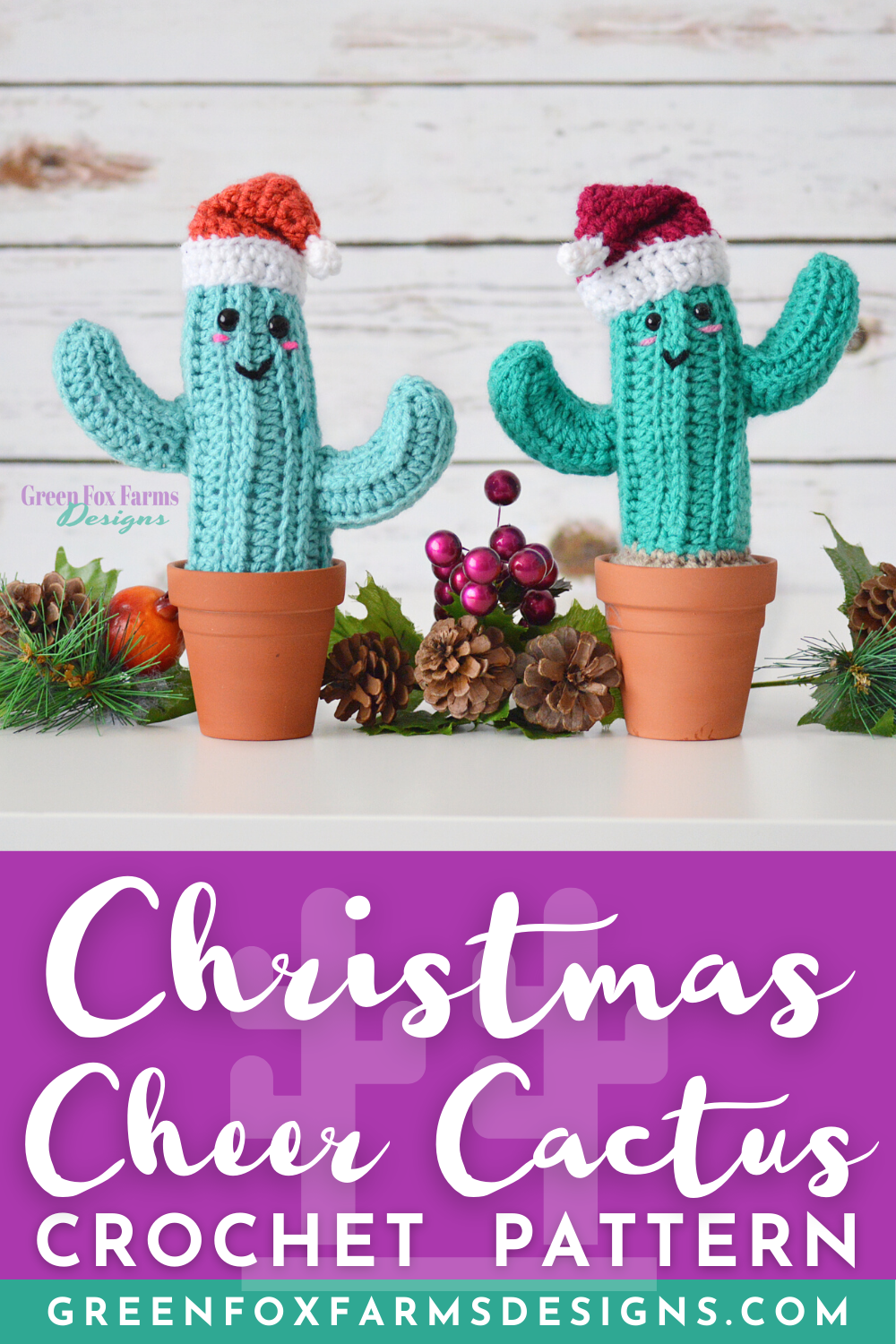 Crochet Christmas Cheer Cactus Pattern. Crochet Pattern for cute cactus with Santa Hat perfect for decorating for the holidays! Green Cactus with Red and White Santa Hat and kawaii face makes a unique and fun Christmas decoration or Holiday Gift! Crochet Pattern by greenfoxfarmsdesigns.com
