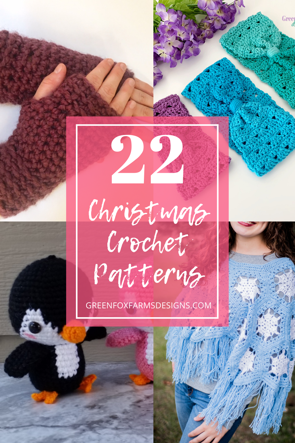 22 Crochet Patterns for Christmas! A gorgeous collection of Crochet Patterns from various designers. Crochet a Snowball Fight, Crochet Poncho, Fingerless Gloves, a Textured Beanie and more! greenfoxfarmsdesigns.com