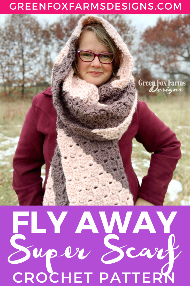 Make a statement with the epically cozy Fly Away Super Scarf Crochet Pattern! Take coziness to the extreme with this Oversized Super Scarf make with soft chunky yarn in Blush Pink and Warm Pecan Brown hues. This extra long Crochet Scarf Pattern will keep you warm all winter long! Fly Away Super Scarf C2C Crochet Pattern by greenfoxfarmsdesigns.com
