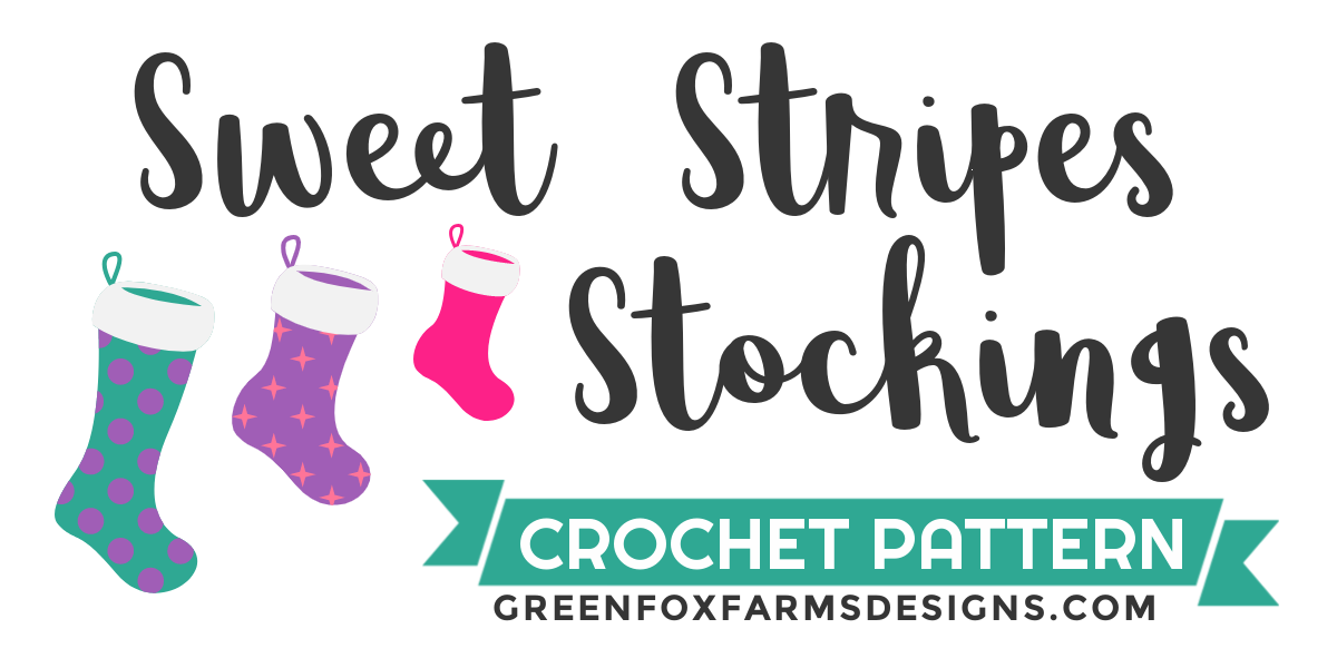 Beautiful Sweet Stripes Stockings in Red, Green, and Purple. Create your own handmade stockings with this crochet Christmas Stocking tutorial. Crochet a Stocking in Small, Medium, or Large sizes with this farmhouse Christmas Stocking crochet pattern by greenfoxfarmsdesigns.com